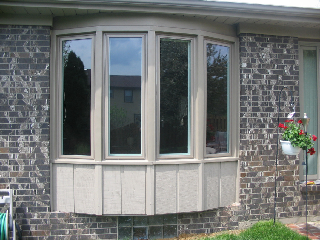 protruding window with four panes